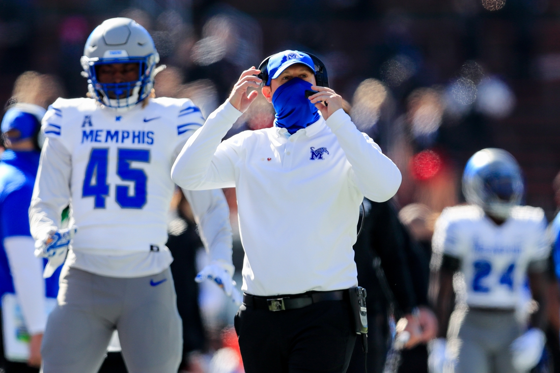 Oct 31, 2020; Cincinnati, Ohio, USA; Memphis Tigers head coach Ryan Silverfield works the sidelines against the Cincinnati Bearcats in the second half at Nippert Stadium. Mandatory Credit: Aaron Doster-USA TODAY Sports