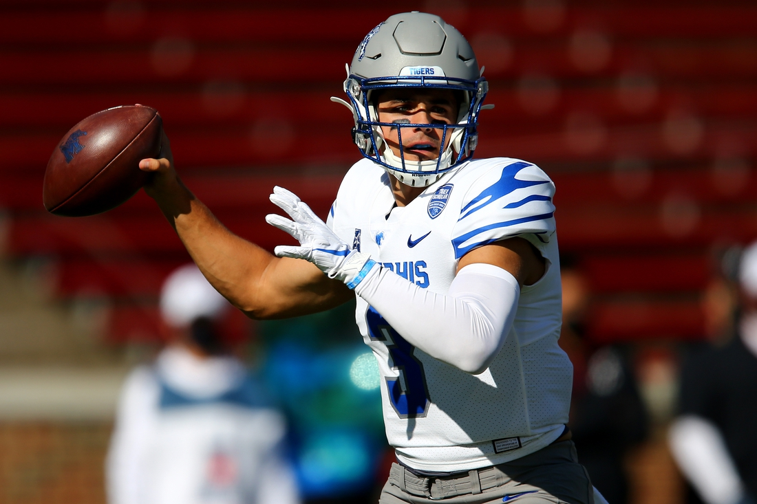 Oct 31, 2020; Cincinnati, OH, USA; Memphis Tigers quarterback Brady White (3) throws during the first quarter of a college football game against the Cincinnati Bearcats, Saturday, Oct. 31, 2020, at Nippert Stadium in Cincinnati. The Cincinnati Bearcats lead 21-10.  Mandatory Credit: Kareem Elgazzar-USA TODAY NETWORK