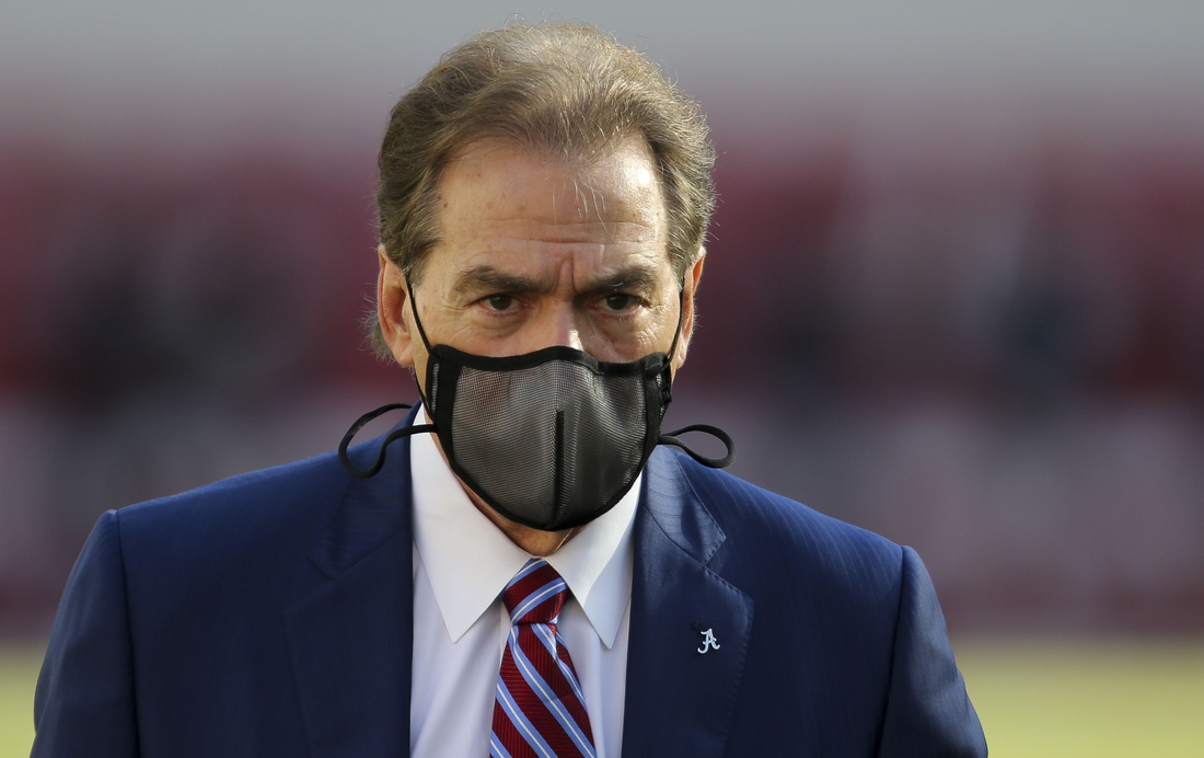 Oct 31, 2020; Tuscaloosa, Alabama, USA; Alabama coach Nick Saban does his traditional pregame walk around in Bryant-Denny Stadium before the Crimson Tide played the Mississippi State Bulldogs. Mandatory Credit: Gary Cosby Jr/The Tuscaloosa News via USA TODAY Sports