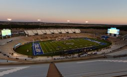 Oct 31, 2020; Colorado Springs, Colorado, USA; General view of Falcon Stadium during the first half of the game between the Boise State Broncos against the Air Force Falcons. Mandatory Credit: Ron Chenoy-USA TODAY Sports