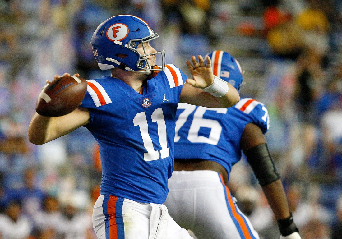 Oct 31, 2020; Gainesville, FL, USA;  Florida quarterback Kyle Trask (11) throws a pass during a game against the Missouri Tigers at Ben Hill Griffin Stadium.  Mandatory Credit: Brad McClenny-USA TODAY NETWORK