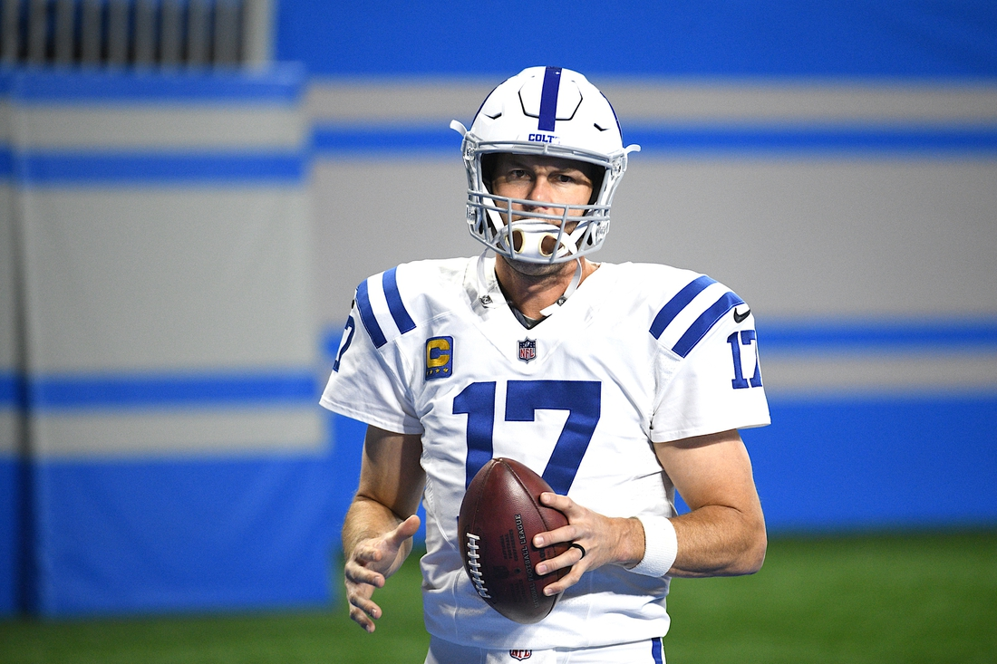 Nov 1, 2020; Detroit, Michigan, USA; Indianapolis Colts quarterback Philip Rivers (17) warms up before the game against the Detroit Lions at Ford Field. Mandatory Credit: Tim Fuller-USA TODAY Sports
