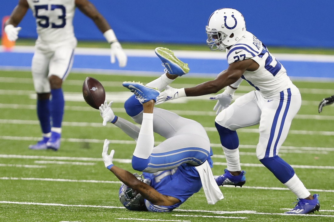 Nov 1, 2020; Detroit, Michigan, USA; Detroit Lions wide receiver Kenny Golladay (19) unable to make a catch against Indianapolis Colts cornerback Xavier Rhodes (27) during the first quarter at Ford Field. Mandatory Credit: Raj Mehta-USA TODAY Sports