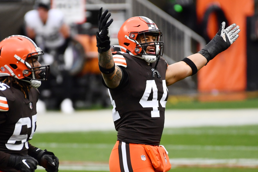 Nov 1, 2020; Cleveland, Ohio, USA; Cleveland Browns linebacker Sione Takitaki (44) reacts after Las Vegas Raiders kicker Daniel Carlson (not pictured) missed a field goal during the first quarter at FirstEnergy Stadium. Mandatory Credit: Ken Blaze-USA TODAY Sports