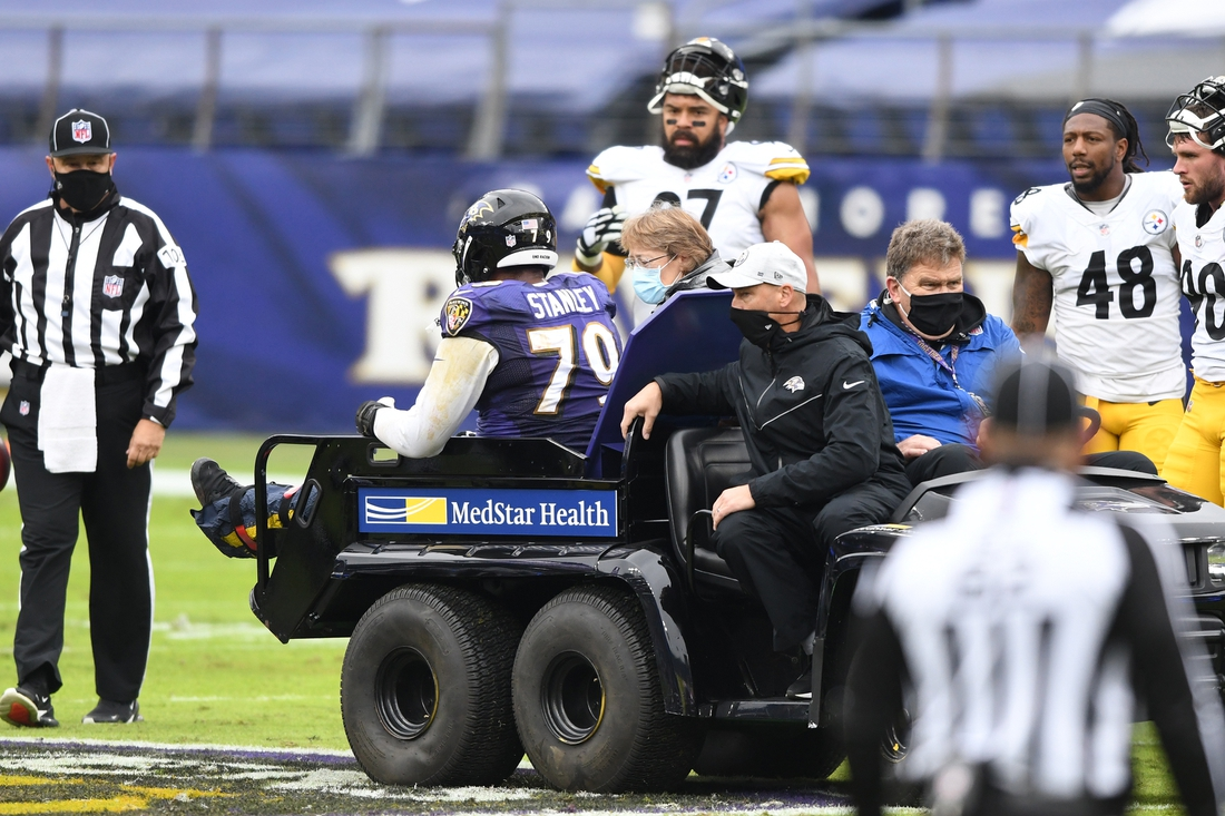 Nov 1, 2020; Baltimore, Maryland, USA;  Baltimore Ravens offensive tackle Ronnie Stanley (79) in carted off the field after suffering an apparent injury in the first quarter against the Pittsburgh Steelers at M&T Bank Stadium. Mandatory Credit: Mitchell Layton-USA TODAY Sports