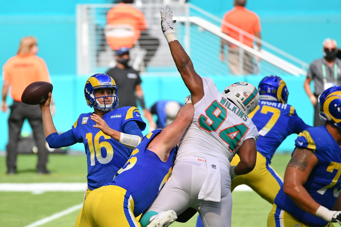 Nov 1, 2020; Miami Gardens, Florida, USA; Los Angeles Rams quarterback Jared Goff (16) attempts a pass against the Miami Dolphins during the first half at Hard Rock Stadium. Mandatory Credit: Jasen Vinlove-USA TODAY Sports