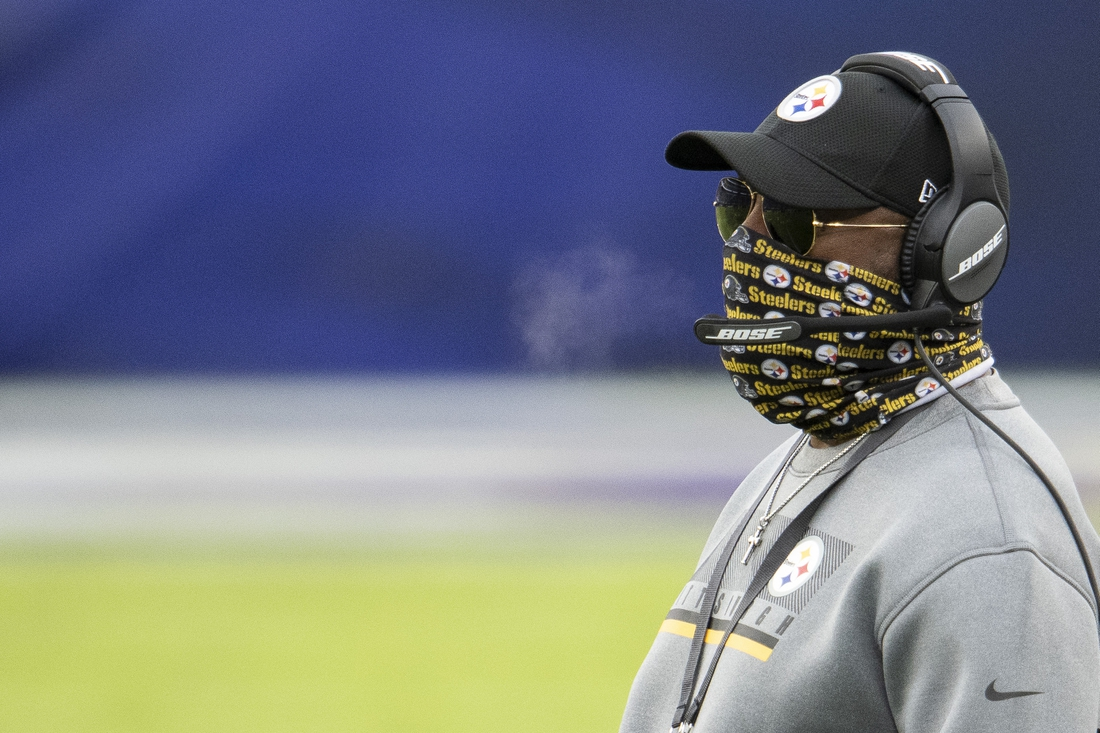Nov 1, 2020; Baltimore, Maryland, USA;  Pittsburgh Steelers head coach Mike Tomlin looks onto the field during the first half against the Baltimore Ravens at M&T Bank Stadium. Mandatory Credit: Tommy Gilligan-USA TODAY Sports