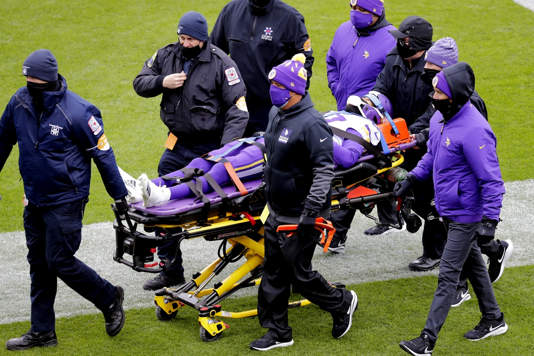 Nov 1, 2020; Green Bay, Wisconsin, USA;  Minnesota Vikings cornerback Cameron Dantzler (27) is carted off the field after suffering an apparent injury during a game against the Green Bay Packers at Lambeau Field. Dan Powers/Appleton Post-Crescent via USA TODAY NETWORK