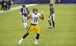 Nov 1, 2020; Baltimore, Maryland, USA;  Pittsburgh Steelers wide receiver Chase Claypool (11) reacts after catching a touchdown  during the fourth quarter against the Baltimore Ravens at M&T Bank Stadium. Mandatory Credit: Tommy Gilligan-USA TODAY Sports