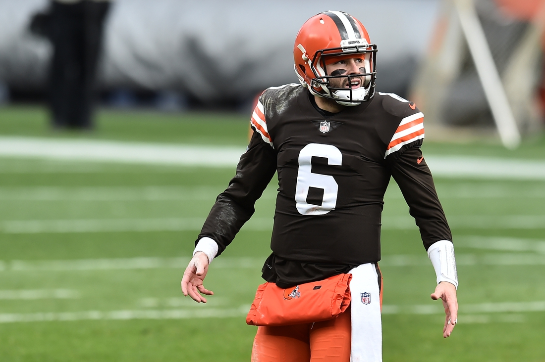 Nov 1, 2020; Cleveland, Ohio, USA; Cleveland Browns quarterback Baker Mayfield (6) walks off the field during a time out in the first half against the Las Vegas Raiders at FirstEnergy Stadium. Mandatory Credit: Ken Blaze-USA TODAY Sports