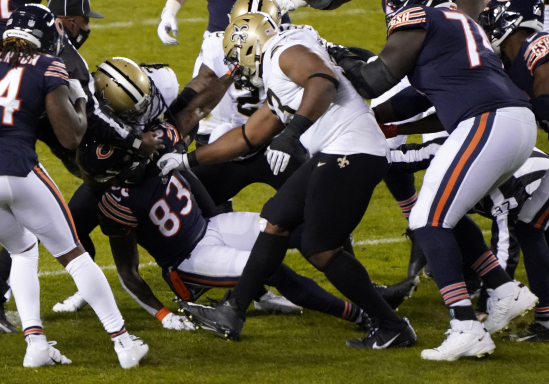 Nov 1, 2020; Chicago, Illinois, USA; Chicago Bears wide receiver Javon Wims (83) gets into a fight with New Orleans Saints cornerback Janoris Jenkins (20) during the third quarter at Soldier Field. Mandatory Credit: Mike Dinovo-USA TODAY Sports