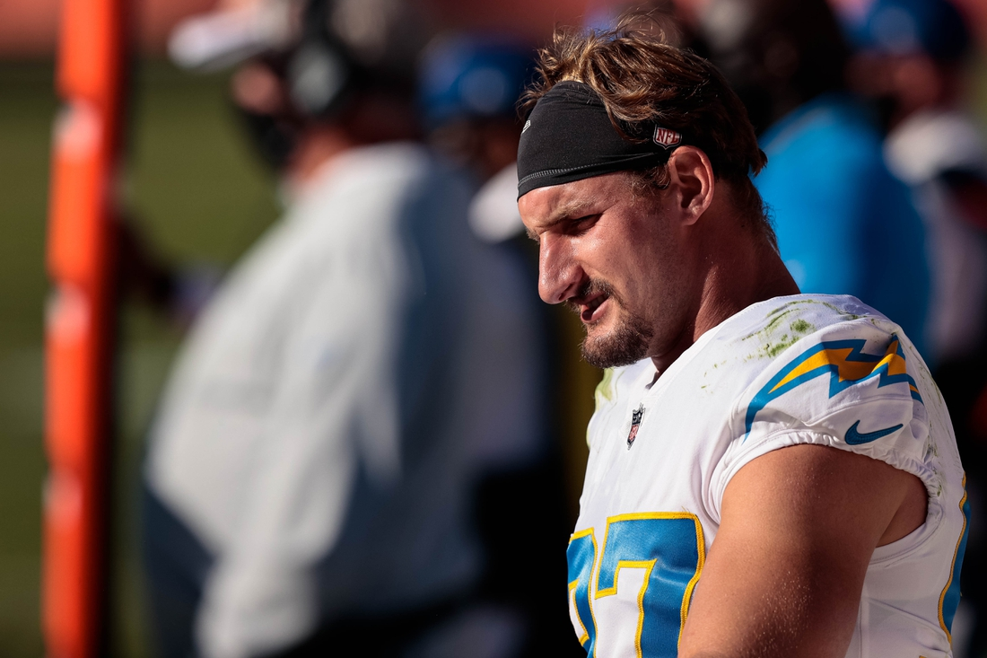 Nov 1, 2020; Denver, Colorado, USA; Los Angeles Chargers defensive end Joey Bosa (97) in the second quarter against the Denver Broncos at Empower Field at Mile High. Mandatory Credit: Isaiah J. Downing-USA TODAY Sports