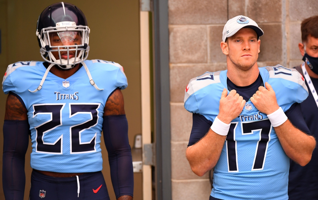 Oct 25, 2020; Nashville, Tennessee, USA; Tennessee Titans quarterback Ryan Tannehill (17) and Tennessee Titans running back Derrick Henry (22) before the game against the Pittsburgh Steelers at Nissan Stadium. Mandatory Credit: Christopher Hanewinckel-USA TODAY Sports