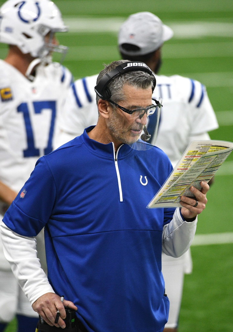 Nov 1, 2020; Detroit, Michigan, USA; Indianapolis Colts head coach Frank Reich during a timeout in the second quarter against the Detroit Lions at Ford Field. Mandatory Credit: Tim Fuller-USA TODAY Sports