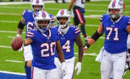 Nov 1, 2020; Orchard Park, New York, USA; Buffalo Bills running back Zack Moss (20) reacts to his touchdown run against the New England Patriots during the first quarter at Bills Stadium. Mandatory Credit: Rich Barnes-USA TODAY Sports