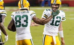Nov 5, 2020; Santa Clara, California, USA; Green Bay Packers wide receiver Marquez Valdes-Scantling (83) celebrates with quarterback Aaron Rodgers (12) after catching a pass to score a touchdown against the San Francisco 49ers during the second quarter at Levi's Stadium. Mandatory Credit: Kyle Terada-USA TODAY Sports