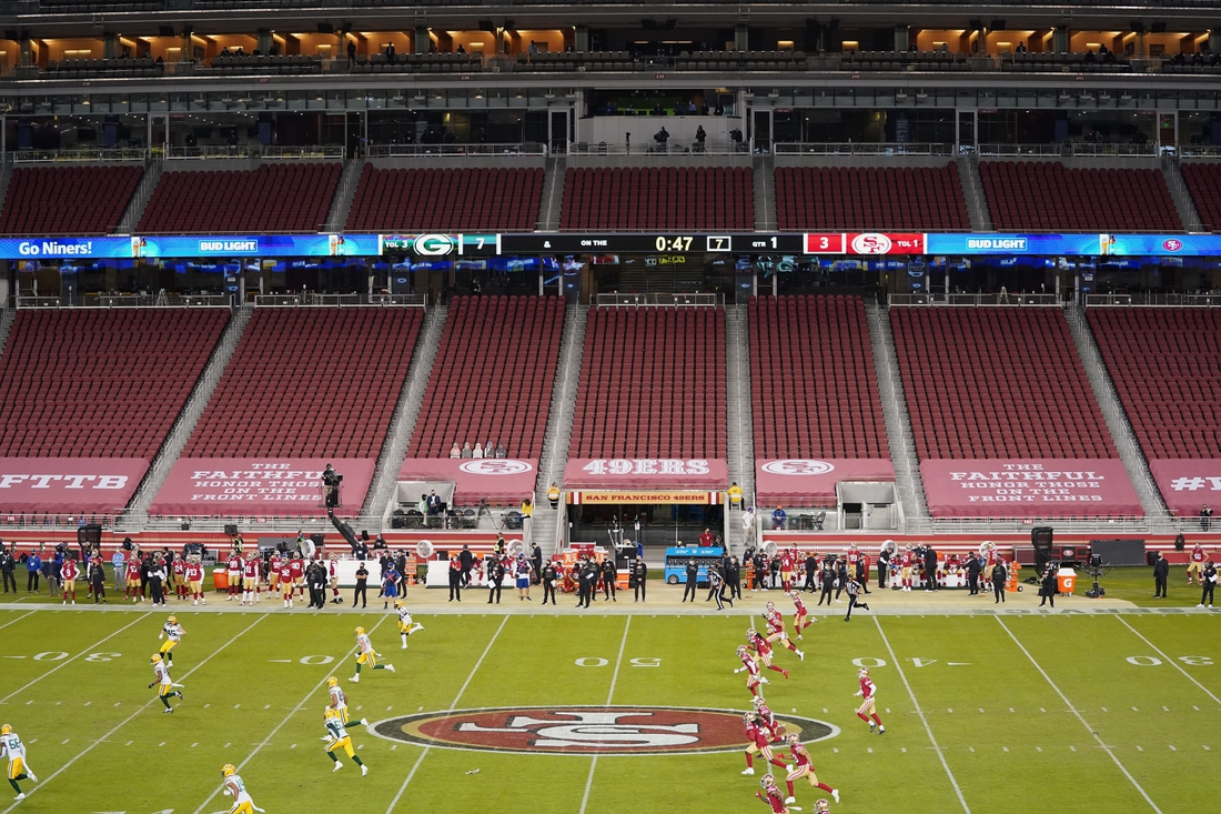Nov 5, 2020; Santa Clara, California, USA; The against the San Francisco 49ers take on the Green Bay Packers during the first quarter at Levi's Stadium.The team bench areas have been extended along the sidelines to allow extra spacing for social distancing room for players and coaches and team personnel. Mandatory Credit: Kyle Terada-USA TODAY Sports