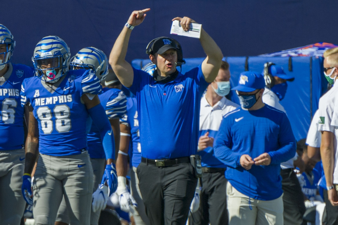 Nov 7, 2020; Memphis, Tennessee, USA; Memphis Tigers head coach Ryan Silverfield during the first half against the South Florida Bulls  at Liberty Bowl Memorial Stadium. Mandatory Credit: Justin Ford-USA TODAY Sports