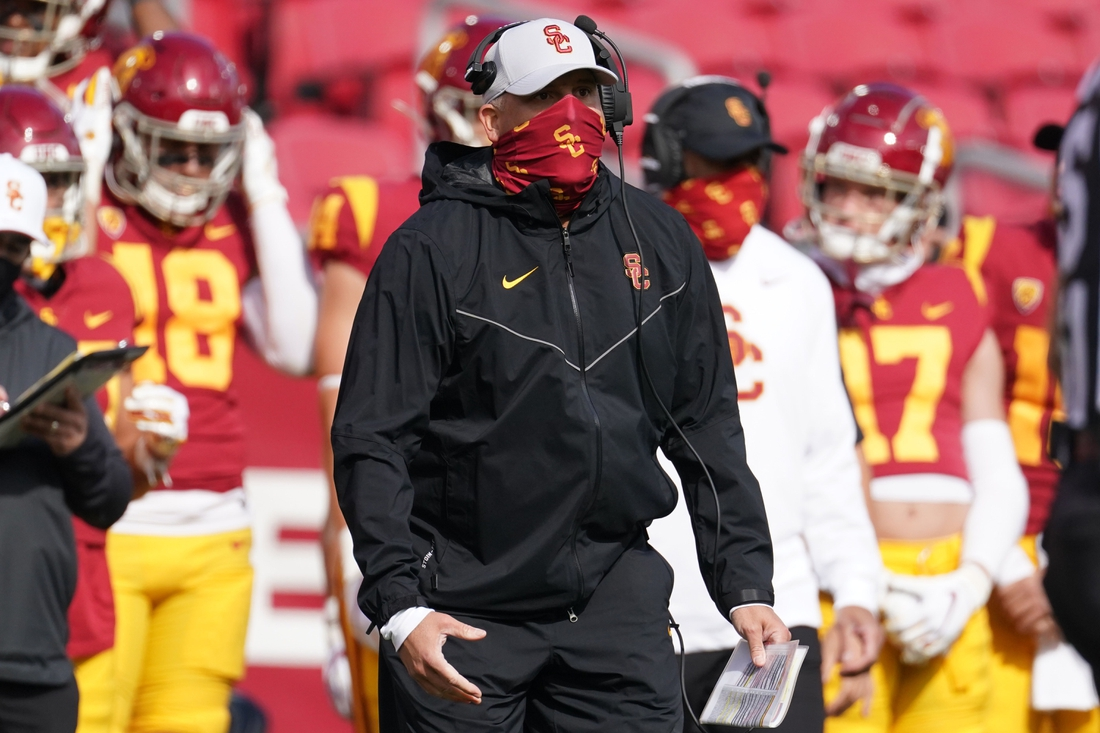 Nov 7, 2020;  Los Angeles CA, USA; Southern California Trojans head coach Clay Helton reacts in the second half against the Arizona State Sun Devils at the Los Angeles Memorial Coliseum. USC defeated Arizona State 28-27.  Mandatory Credit: Kirby Lee-USA TODAY Sports