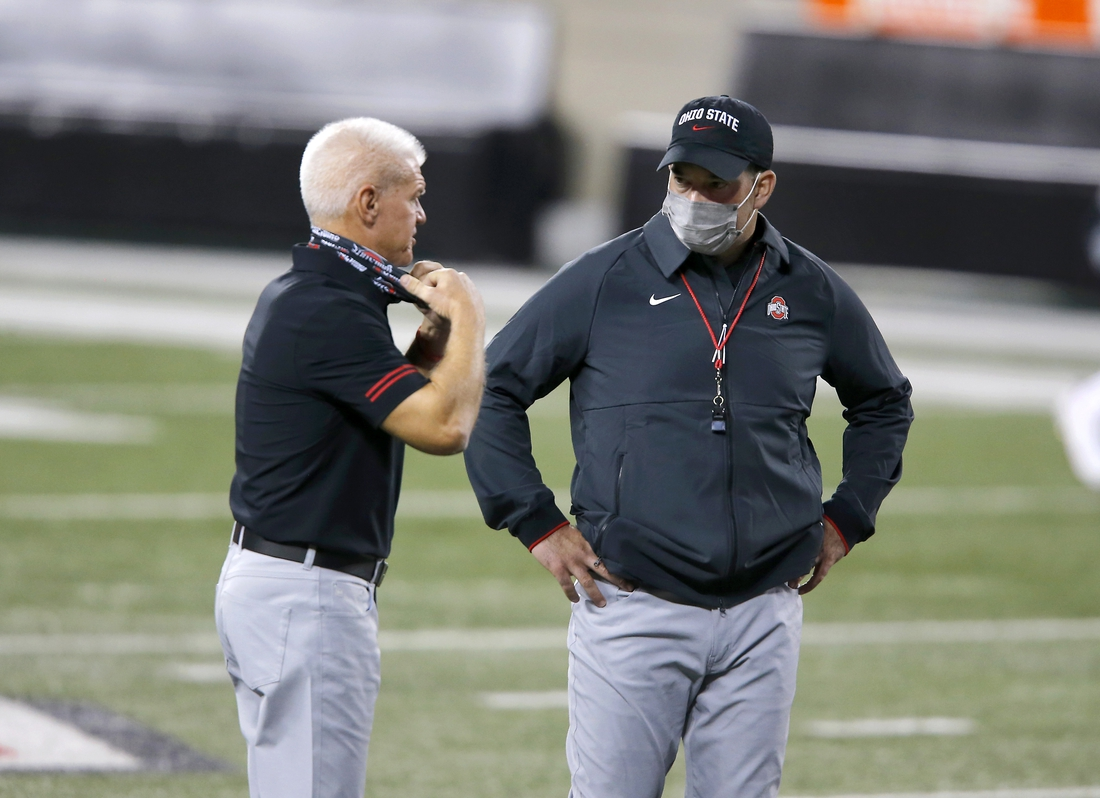 Nov 7, 2020; Columbus, Ohio, USA; Ohio State Buckeyes head coach Ryan Day(right)and assistant coach Kerry Coombs before the game between the Ohio State Buckeyes and the Rutgers Scarlet Knights at Ohio Stadium. Mandatory Credit: Joseph Maiorana-USA TODAY Sports