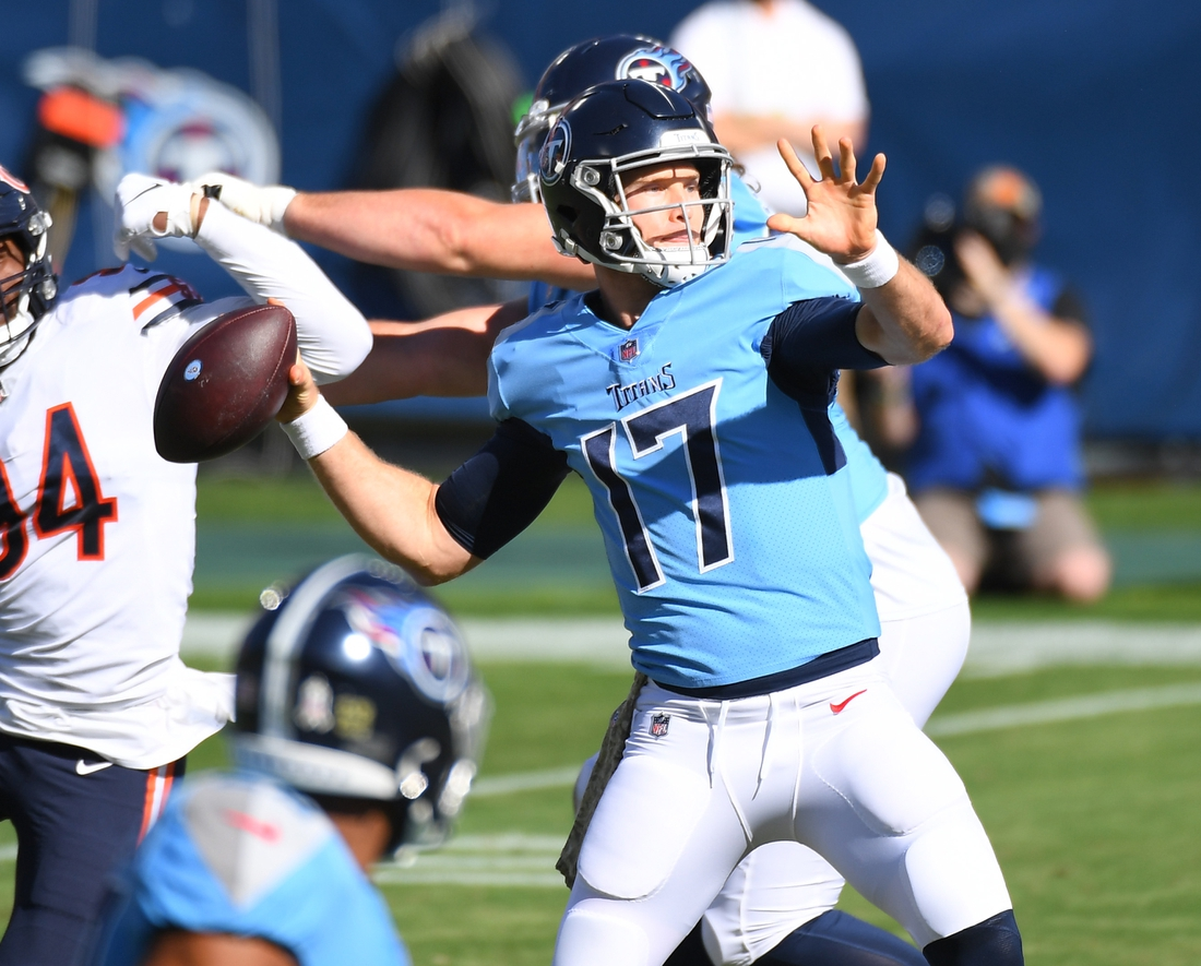 Nov 8, 2020; Nashville, Tennessee, USA; Tennessee Titans quarterback Ryan Tannehill (17) attempts a pass during the first half against the Chicago Bears at Nissan Stadium. Mandatory Credit: Christopher Hanewinckel-USA TODAY Sports