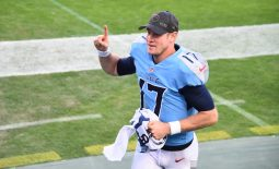 Nov 8, 2020; Nashville, Tennessee, USA; Tennessee Titans quarterback Ryan Tannehill (17) runs off the field after defeating the Chicago Bears at Nissan Stadium. Mandatory Credit: Christopher Hanewinckel-USA TODAY Sports