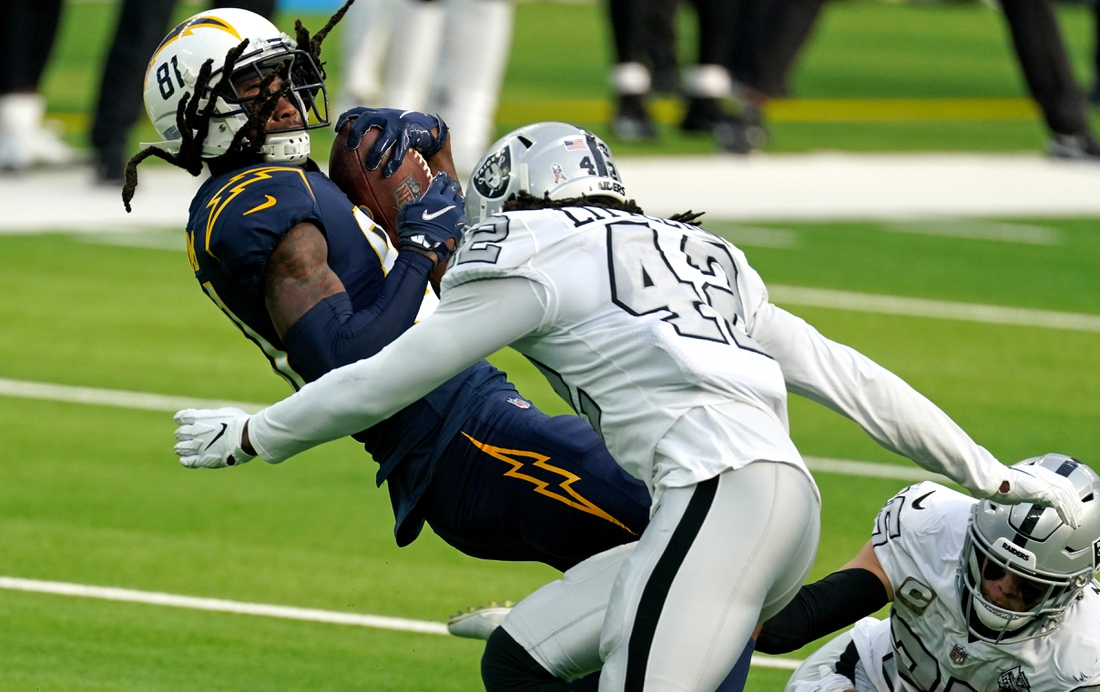 Nov 8, 2020; Inglewood, California, USA; Los Angeles Chargers wide receiver Mike Williams (81) is tackled by Las Vegas Raiders inside linebacker Cory Littleton (42) during the first half at SoFi Stadium. Mandatory Credit: Kirby Lee-USA TODAY Sports