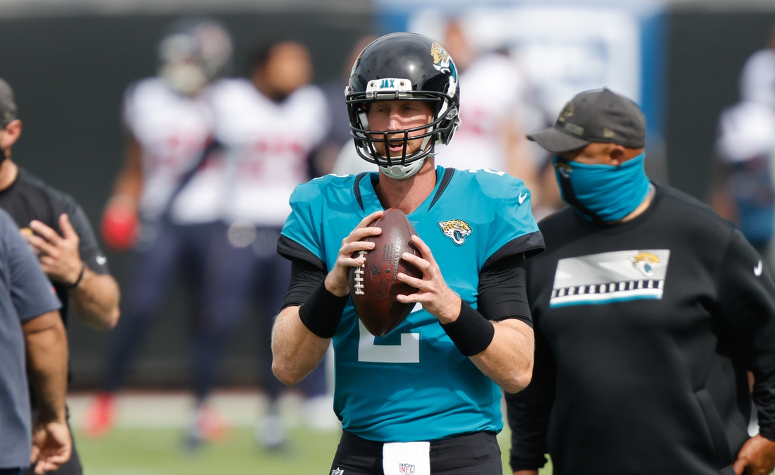 Nov 8, 2020; Jacksonville, Florida, USA; Jacksonville Jaguars quarterback Mike Glennon (2) during warms up before the game against the Houston Texans at TIAA Bank Field. Mandatory Credit: Reinhold Matay-USA TODAY Sports
