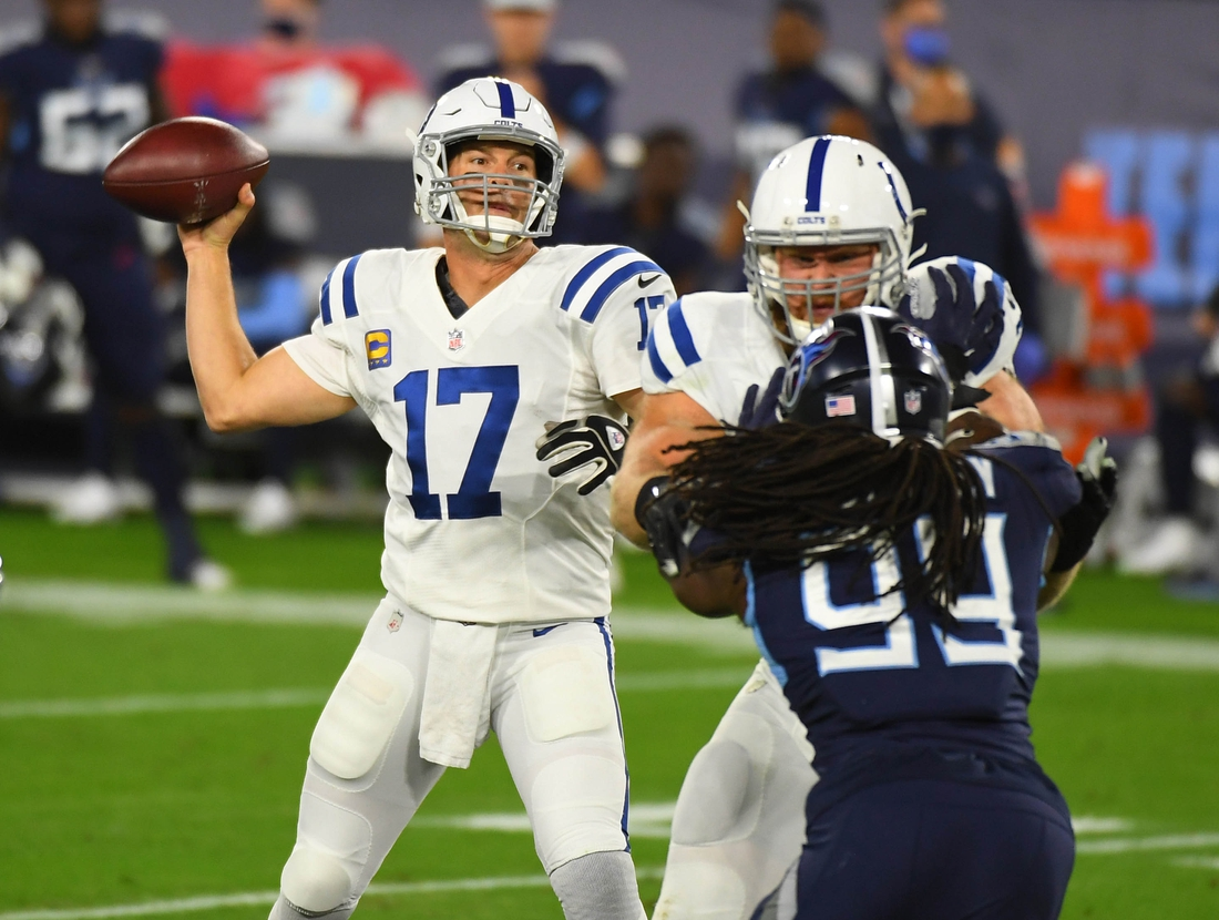 Nov 12, 2020; Nashville, Tennessee, USA; Indianapolis Colts quarterback Philip Rivers (17) throws during the first half against the Tennessee Titans at Nissan Stadium. Mandatory Credit: Christopher Hanewinckel-USA TODAY Sports