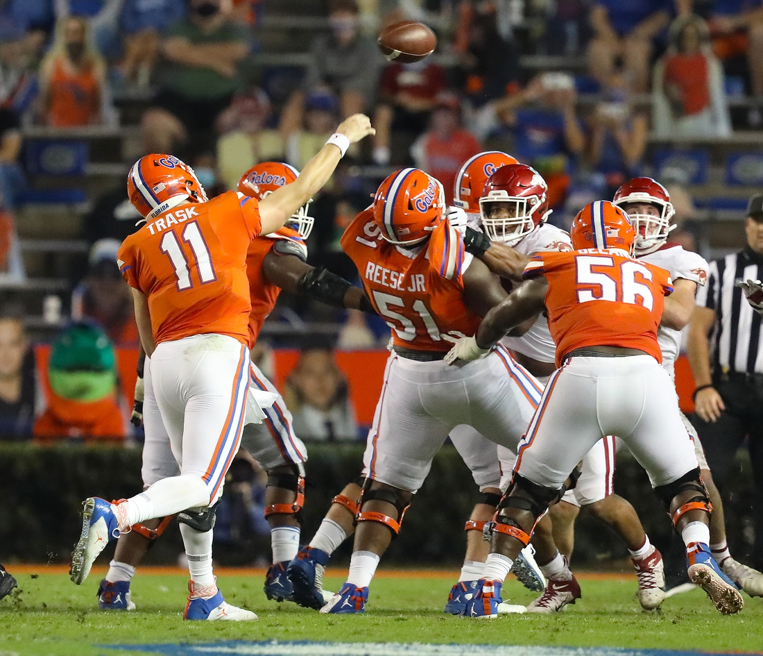 Nov 14, 2020; Gainesville, FL, USA;  Florida Gators quarterback Kyle Trask (11) throws the ball during a football game against Arkansas at Ben Hill Griffin Stadium.  Mandatory Credit: Brad McClenny-USA TODAY NETWORK