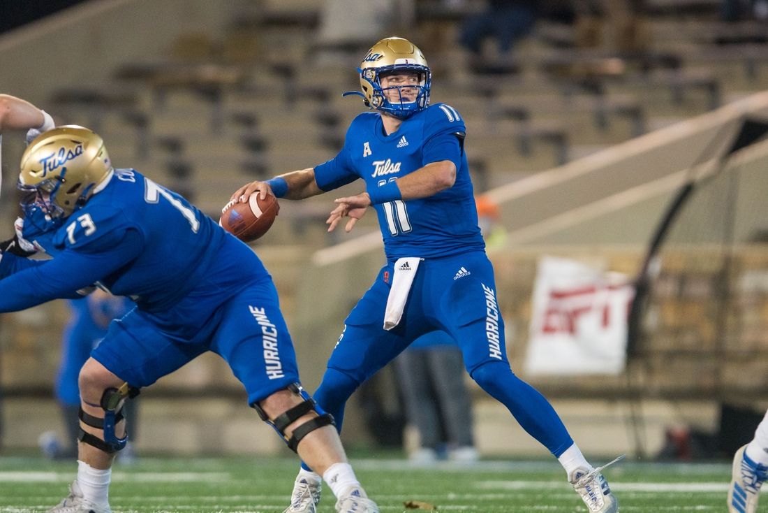 Nov 14, 2020; Tulsa, Oklahoma, USA; Tulsa Golden Hurricane quarterback Zach Smith (11) throws a pass during the fourth quarter of the game against the Southern Methodist Mustangs at Skelly Field at H.A. Chapman Stadium. TU won the game 28-24. Mandatory Credit: Brett Rojo-USA TODAY Sports