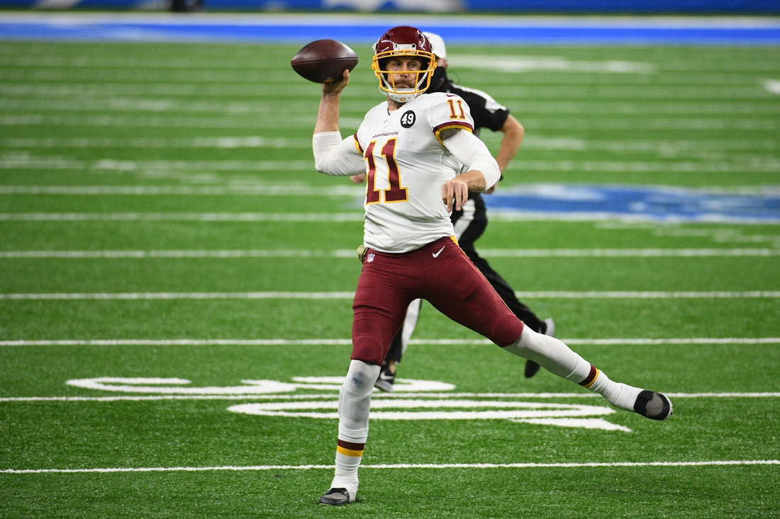 Nov 15, 2020; Detroit, Michigan, USA; Washington Football Team quarterback Alex Smith (11) throws a pass against the Detroit Lions during the third quarter at Ford Field. Mandatory Credit: Tim Fuller-USA TODAY Sports