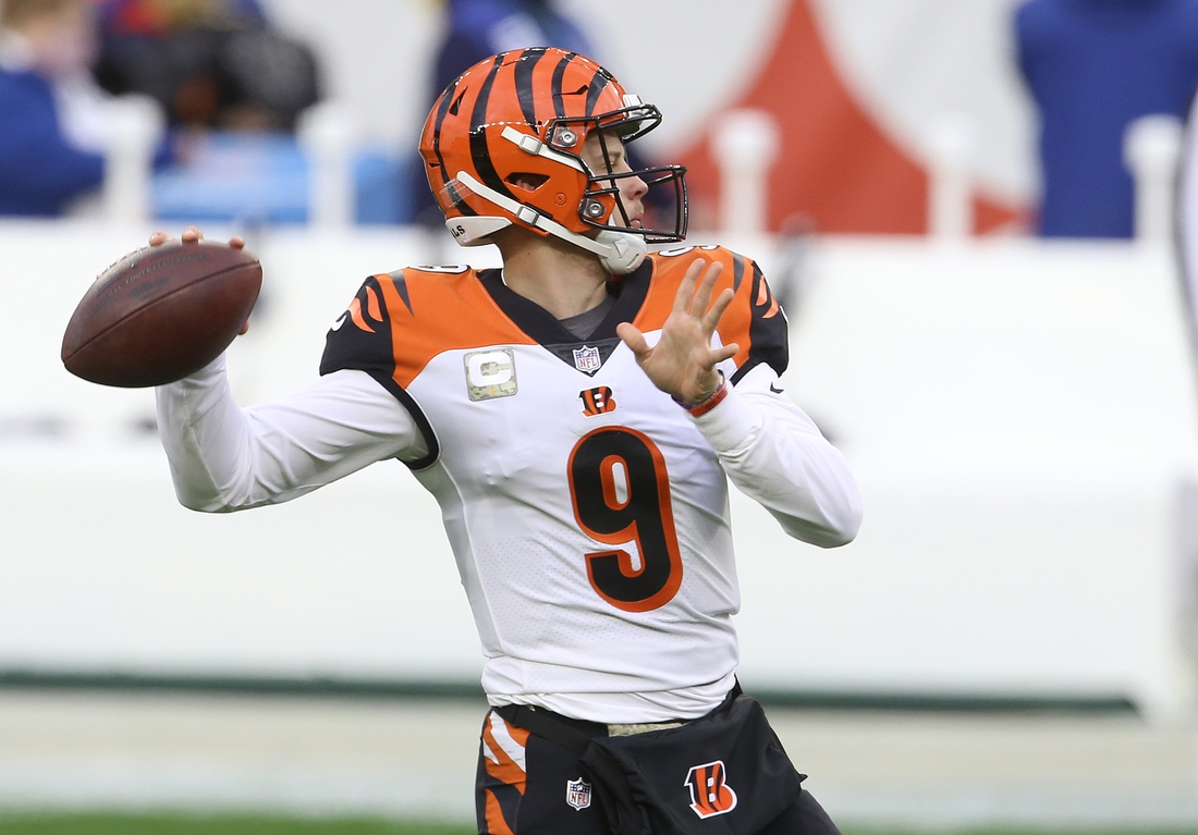 Nov 15, 2020; Pittsburgh, Pennsylvania, USA;  Cincinnati Bengals quarterback Joe Burrow (9) warms up before playing the Pittsburgh Steelers at Heinz Field. Mandatory Credit: Charles LeClaire-USA TODAY Sports