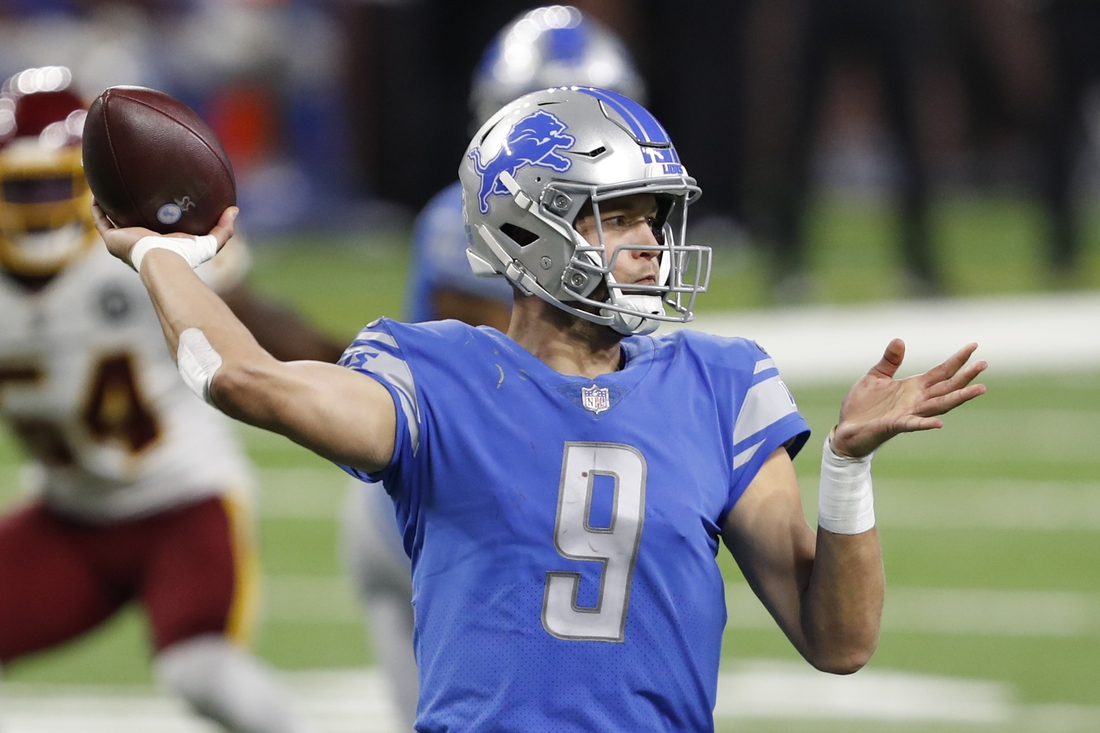 Nov 15, 2020; Detroit, Michigan, USA; Detroit Lions quarterback Matthew Stafford (9) passes the ball during the fourth quarter against the Washington Football Team at Ford Field. Mandatory Credit: Raj Mehta-USA TODAY Sports