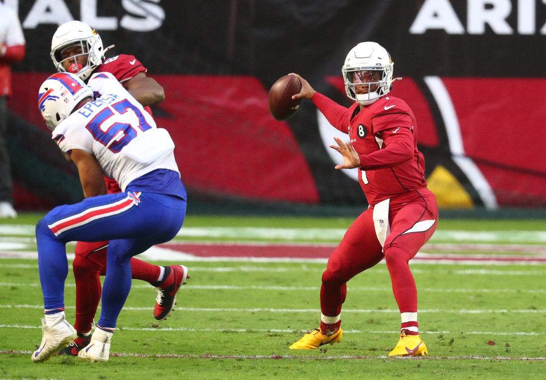 Nov 15, 2020; Glendale, Arizona, USA; Arizona Cardinals quarterback Kyler Murray (1) against the Buffalo Bills in the second half at State Farm Stadium. Mandatory Credit: Mark J. Rebilas-USA TODAY Sports