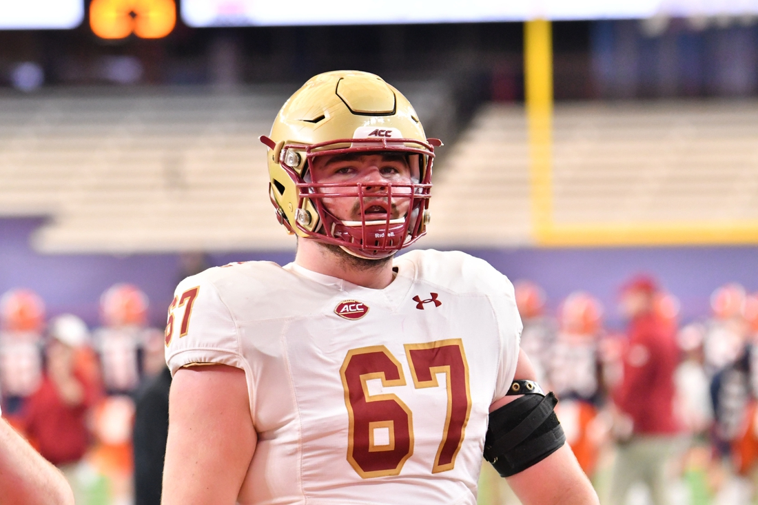 Nov 7, 2020; Syracuse, New York, USA; Boston College Eagles offensive lineman Jack Conley (67) warms up before a game against the Syracuse Orange at the Carrier Dome. Mandatory Credit: Mark Konezny-USA TODAY Sports