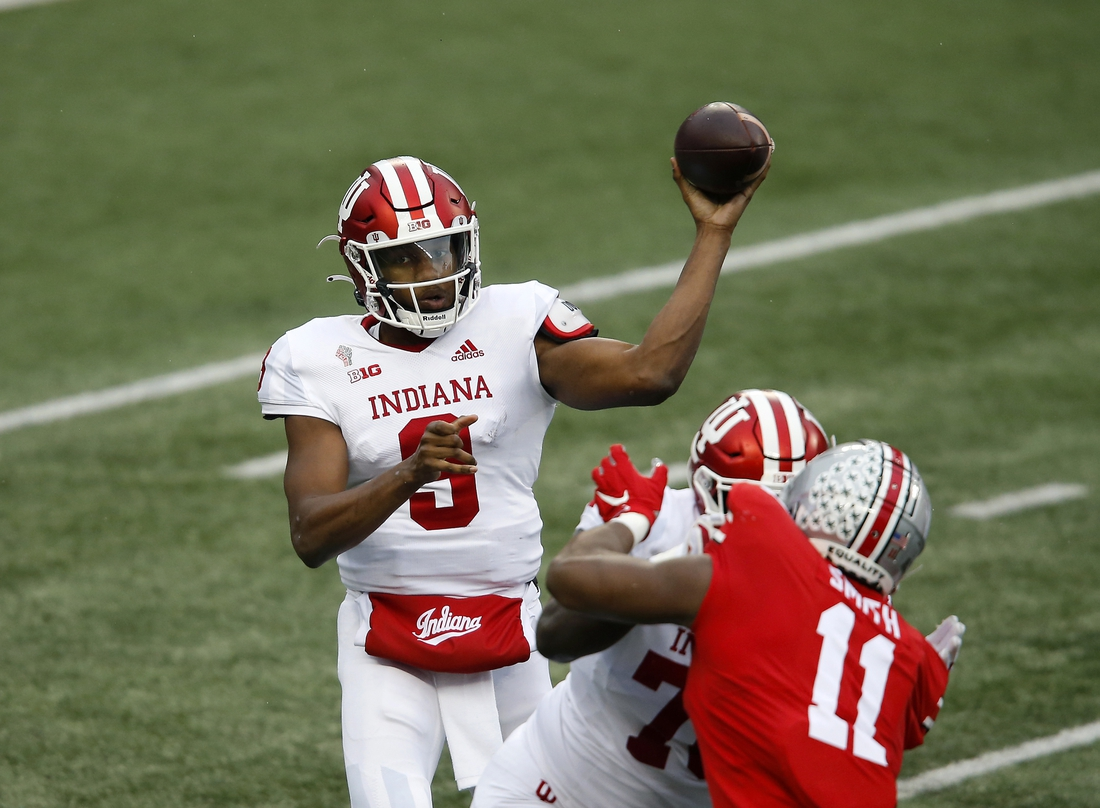 Nov 21, 2020; Columbus, Ohio, USA; Indiana Hoosiers quarterback Michael Penix Jr. (9) throws during the first quarter against the Ohio State Buckeyes at Ohio Stadium. Mandatory Credit: Joseph Maiorana-USA TODAY Sports