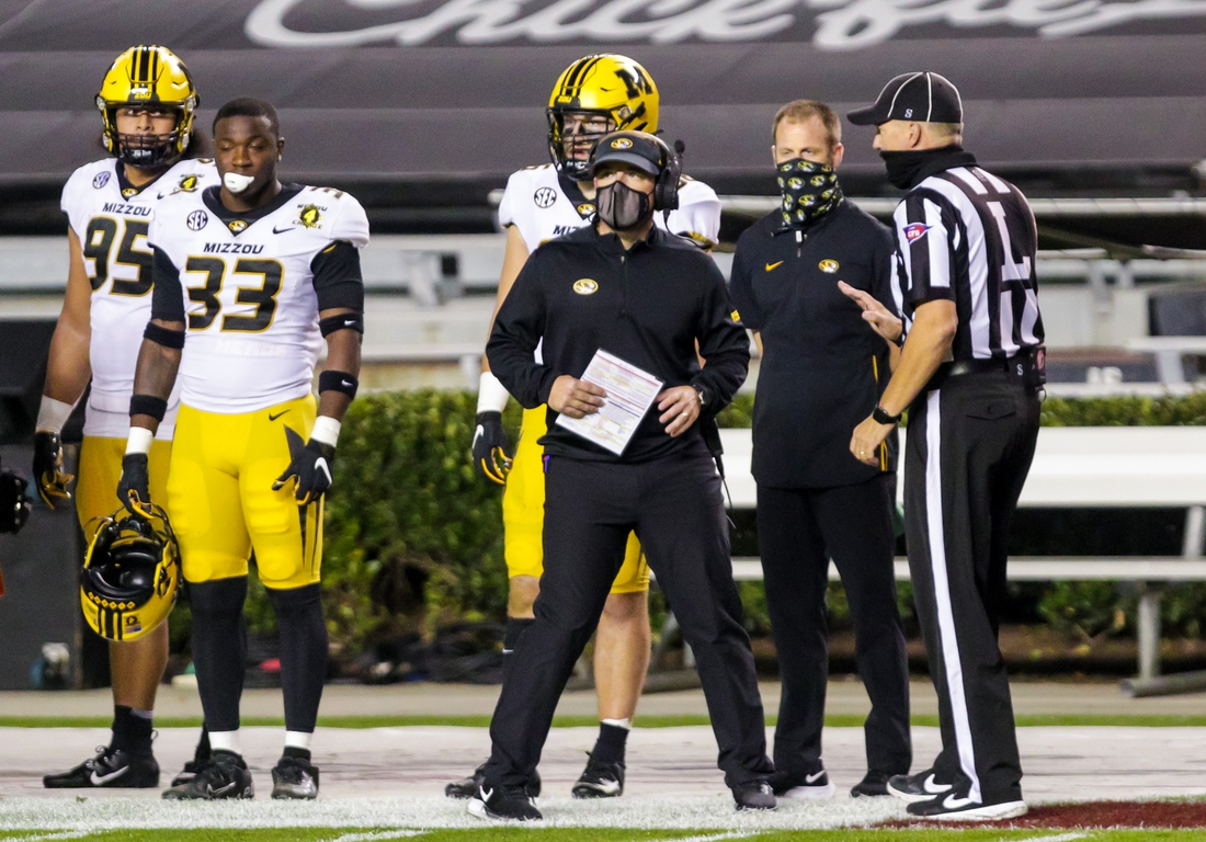 Nov 21, 2020; Columbia, South Carolina, USA; Missouri Tigers head coach Eliah Drinkwitz discusses a call against the South Carolina Gamecocks in the second quarter at Williams-Brice Stadium. Mandatory Credit: Jeff Blake-USA TODAY Sports