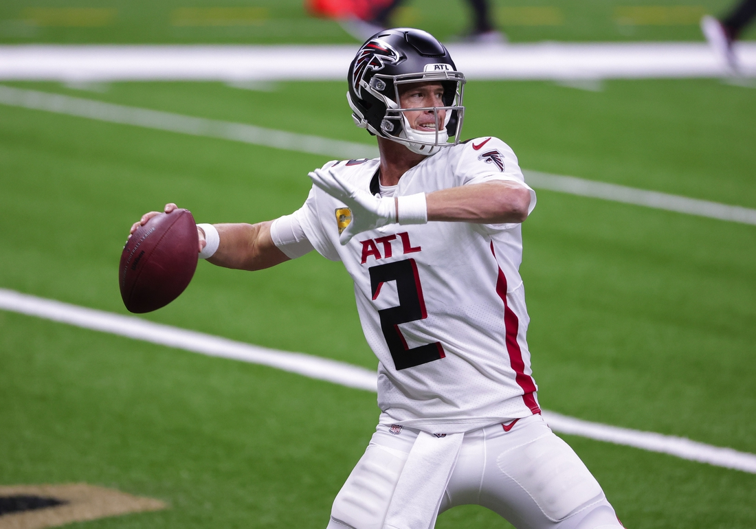 Nov 22, 2020; New Orleans, Louisiana, USA; Atlanta Falcons quarterback Matt Ryan (2) warms up prior to kickoff against the New Orleans Saints at the Mercedes-Benz Superdome. Mandatory Credit: Derick E. Hingle-USA TODAY Sports