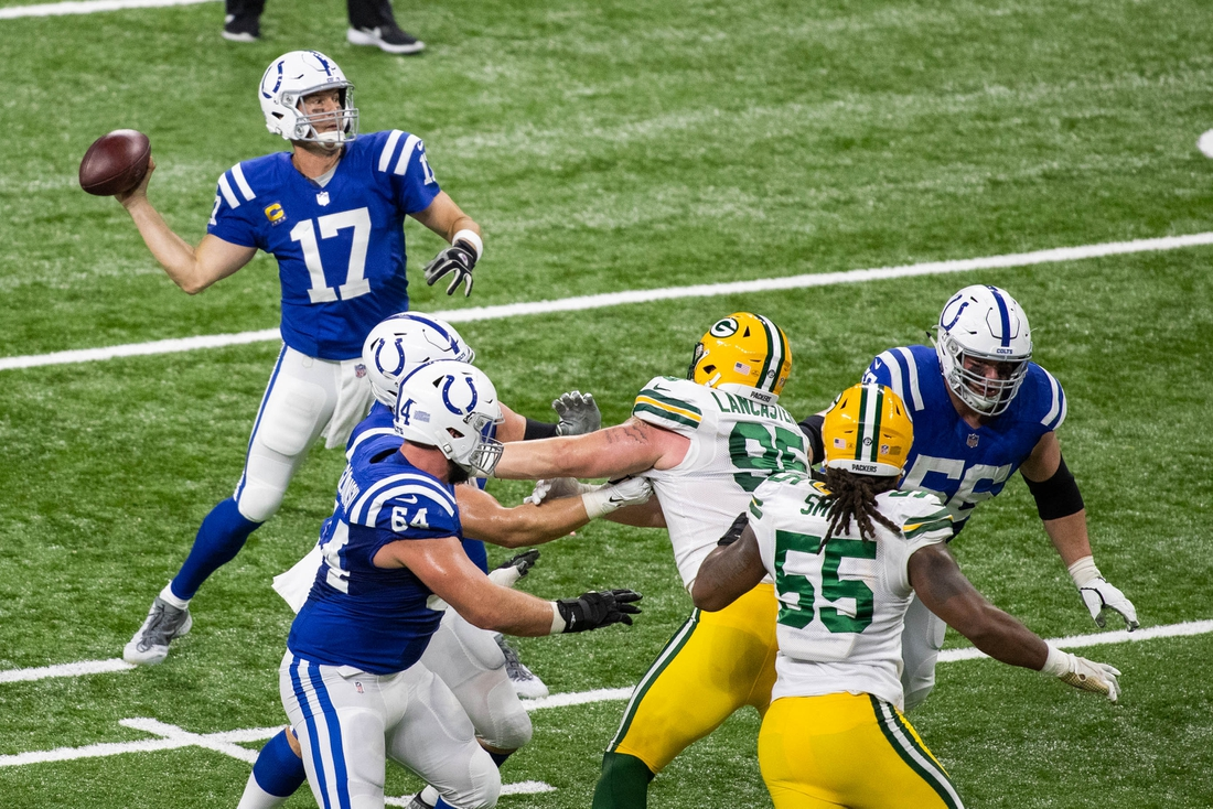 Nov 22, 2020; Indianapolis, Indiana, USA; Indianapolis Colts quarterback Philip Rivers (17) throws the ball in the first half against the Green Bay Packers at Lucas Oil Stadium. Mandatory Credit: Trevor Ruszkowski-USA TODAY Sports