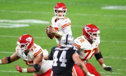 Nov 22, 2020; Paradise, Nevada, USA; Kansas City Chiefs quarterback Patrick Mahomes (15) against the Las Vegas Raiders at Allegiant Stadium. Mandatory Credit: Mark J. Rebilas-USA TODAY Sports