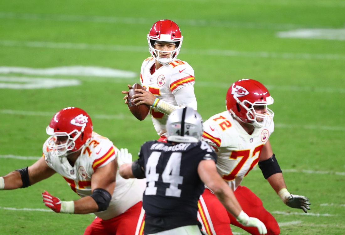 Nov 22, 2020; Paradise, Nevada, USA; Kansas City Chiefs quarterback Patrick Mahomes (15) against the Las Vegas Raiders at Allegiant Stadium. Mandatory Credit: Mark J. Rebilas-USA TODAY Sports