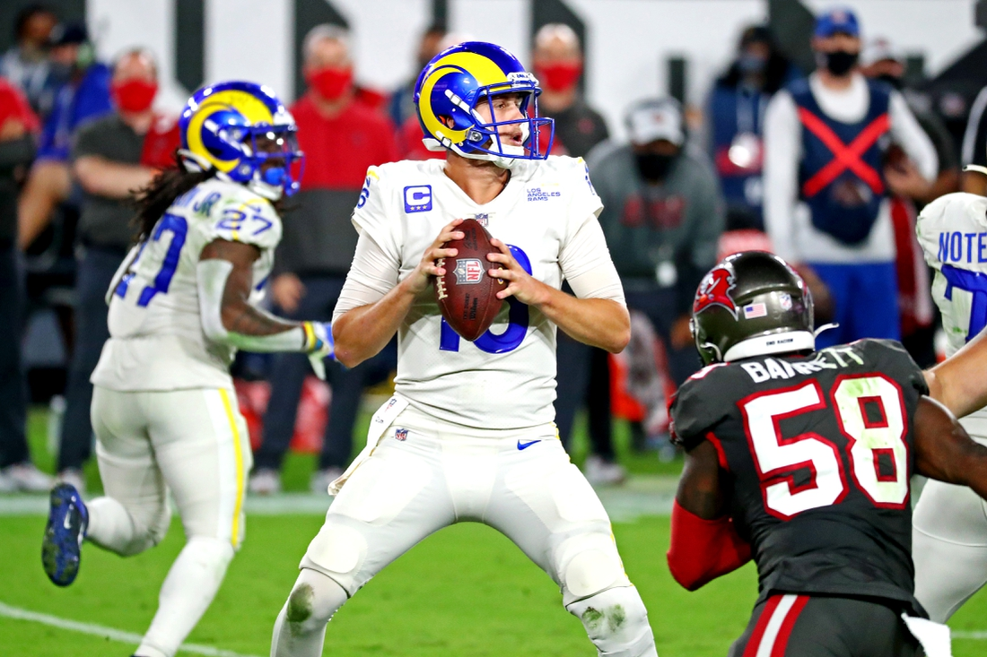Nov 23, 2020; Tampa, Florida, USA;  Los Angeles Rams quarterback Jared Goff (16) drops back to pass during the third quarter against the Tampa Bay Buccaneers at Raymond James Stadium. Mandatory Credit: Kim Klement-USA TODAY Sports