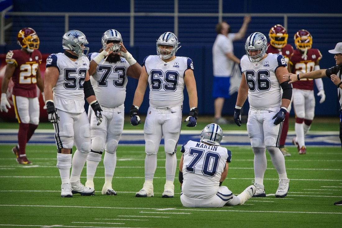 Nov 26, 2020; Arlington, Texas, USA; Dallas Cowboys offensive guard Connor Williams (52) and center Joe Looney (73) and offensive tackle Brandon Knight (69) and offensive guard Connor McGovern (66) look on as offensive guard Zack Martin (70) is injured during the first quarter against the Washington Football Team at AT&T Stadium. Mandatory Credit: Jerome Miron-USA TODAY Sports