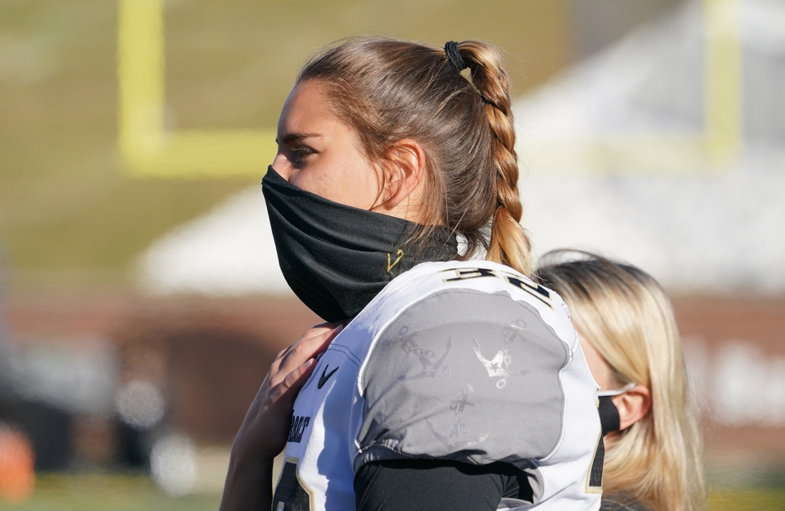 Nov 28, 2020; Columbia, Missouri, USA; Vanderbilt Commodores place kicker Sarah Fuller (32) looks on  during warm ups before a game against the Missouri Tigers at Faurot Field at Memorial Stadium. Mandatory Credit: Denny Medley-USA TODAY Sports