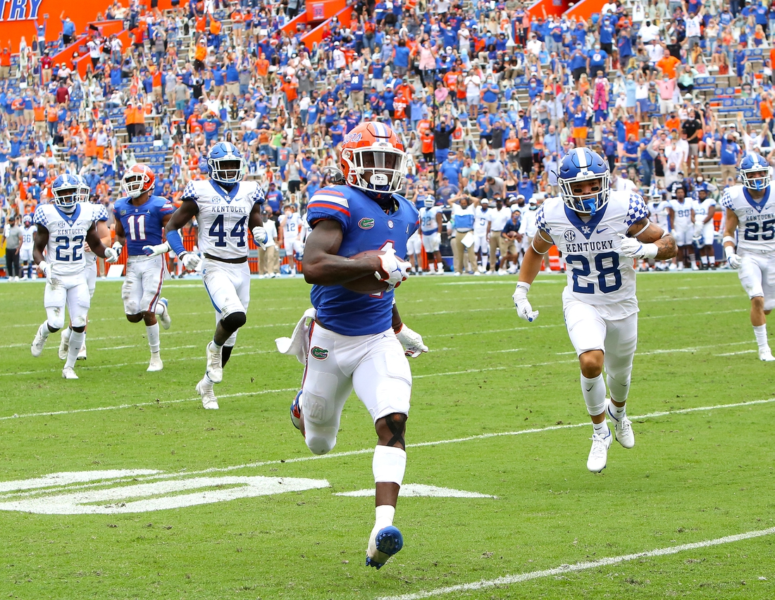 Nov 28, 2020; Gainesville, FL, USA;   Florida Gators receiver Kadarius Toney (1) runs a punt return back for a touchdown during a football game against the Kentucky Wildcats at Ben Hill Griffin Stadium in Gainesville, Fla. Nov. 28, 2020.   Mandatory Credit: Brad McClenny-USA TODAY NETWORK