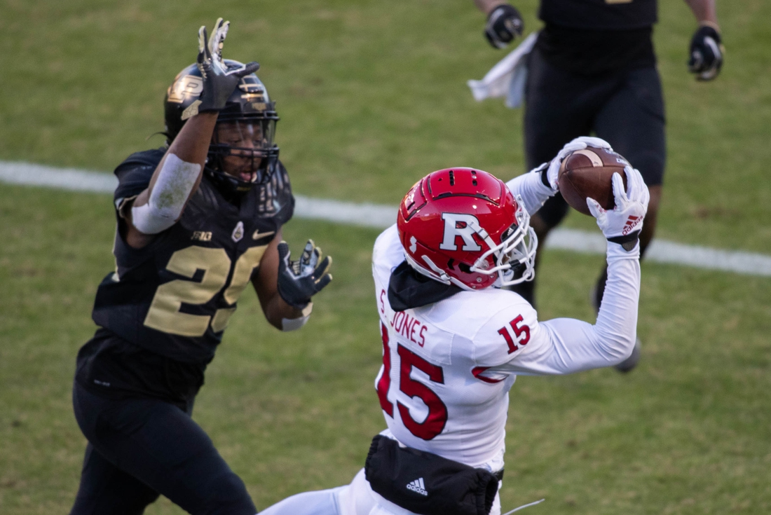 Nov 28, 2020; West Lafayette, Indiana, USA;  Rutgers Scarlet Knights wide receiver Shameen Jones (15) catches a touchdown pass while Purdue Boilermakers linebacker Tyler Coyle (25) defends in the first half at Ross-Ade Stadium. Mandatory Credit: Trevor Ruszkowski-USA TODAY Sports