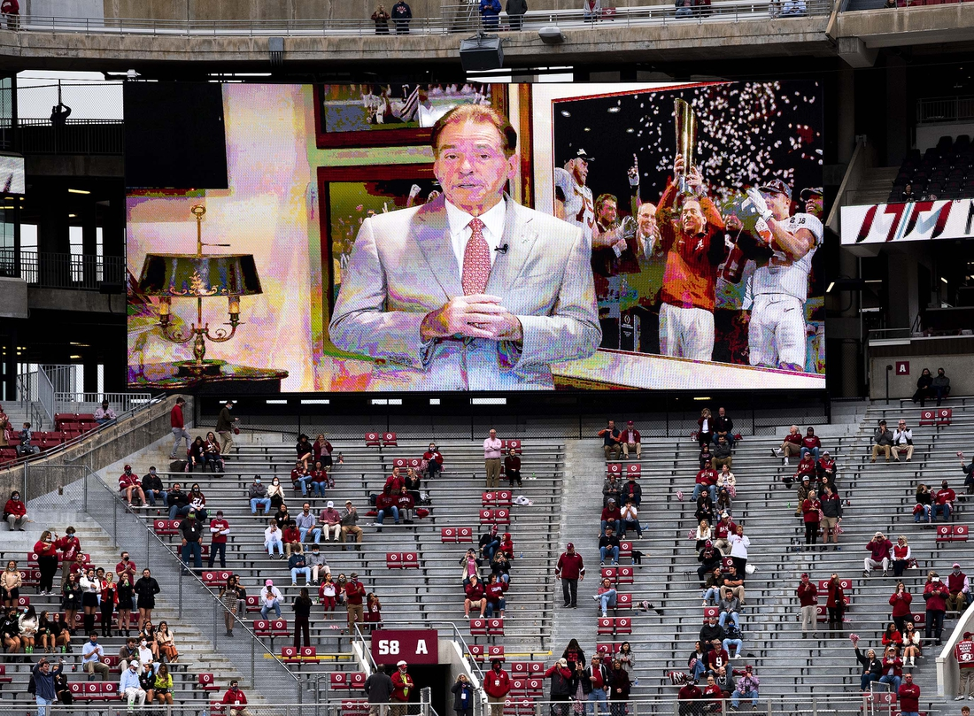 Nov 28, 2020; Tuscaloosa, Alabama, USA;  A prerecorded message from Alabama head coach Nick Saban is shown on the big screen at Bryant-Denny Stadium before the Iron Bowl against Auburn. Mandatory Credit: Mickey Welsh/The Montgomery Advertiser via USA TODAY Sports