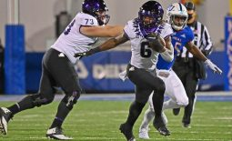 Nov 28, 2020; Lawrence, Kansas, USA; TCU Horned Frogs running back Zach Evans (6) runs up field during the first quarter against the Kansas Jayhawks at David Booth Kansas Memorial Stadium. Mandatory Credit: Peter Aiken-USA TODAY Sports