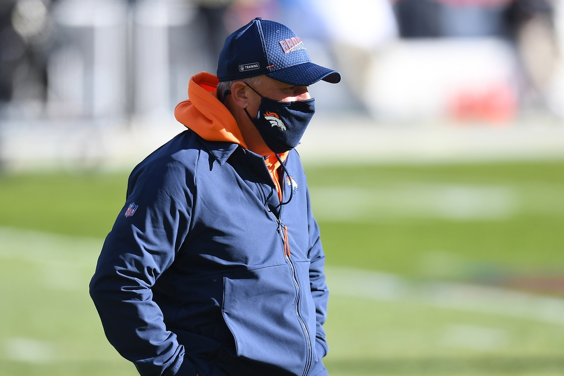 Nov 29, 2020; Denver, Colorado, USA; Denver Broncos head coach Vic Fangio looks on before a game against the New Orleans Saints at Empower Field at Mile High. Mandatory Credit: Ron Chenoy-USA TODAY Sports